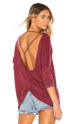 Lamade La Made Raina Open Back Blouse In Red. Pinot Noir