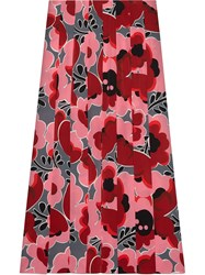 Gucci Poppies Silk Skirt Pink And Purple