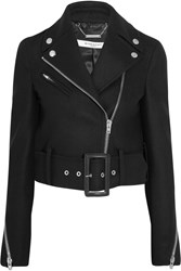 Givenchy Cropped Biker Jacket In Black Wool Blend Felt