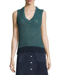 Rag And Bone Carmen Colorblock Cable Knit Tank Teal