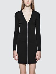Alexander Wang T By Stretch Faille Ponte L S Dress With Front Zipper