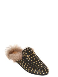 Gucci 10Mm Princetown Stud Leather And Fur Mules