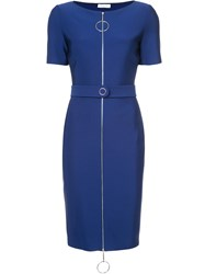 Thierry Mugler Ring Pull Fitted Dress Polyamide Polyester Spandex Elastane Viscose Blue