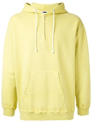 H Beauty And Youth Zip Neck Hoodie Yellow Orange