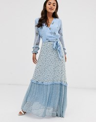 Ghost Avery Georgette Mix And Match Print Floral Maxi Dress Blue