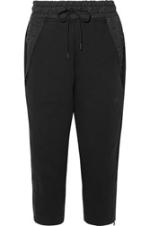 Nike Tech Fleece Cropped Shell Trimmed Cotton Blend Track Pants Black
