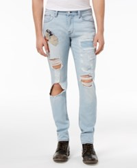 Guess Men's Slim Fit Tapered Deconstructed Jeans Native Blue Wash