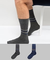Selected Homme Ribbed Socks In 2 Pack With Stripes Dark Blue Melange Multi