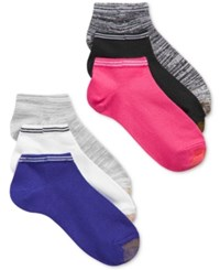 Gold Toe Women's 6 Pk. Free Feed Stripe Soft Liner Socks Grey Blue Pink