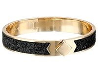 Cole Haan Thin Hinged Leather Inlay Bangle Gold Distressed Pewter Metallic Bracelet Black