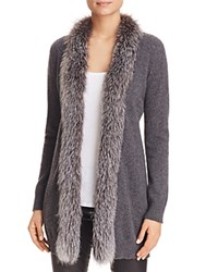 Bloomingdale's C By Fox Fur Trim Cashmere Cardigan Grey