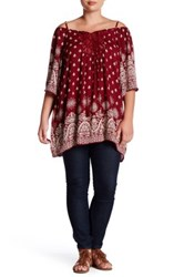 Angie Gauze Printed Cold Shoulder Tunic Plus Size Red
