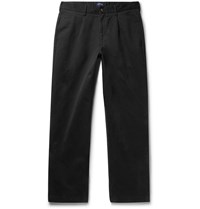 Noah Pleated Brushed Cotton Chinos Black