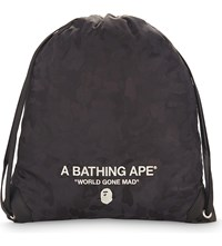 A Bathing Ape Embroidered Drawstring Backpack Black