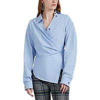 Cedric Charlier Draped Cotton Poplin Shirt Lt. Blue