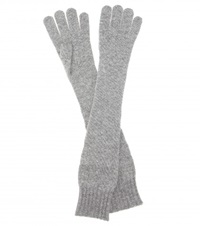 Dolce And Gabbana Long Cashmere Gloves Grey