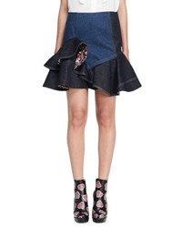 Alexander Mcqueen Ruffled Denim Mini Skirt