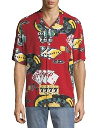 Ovadia And Sons Casino Graphic Short Sleeve Beach Shirt Red