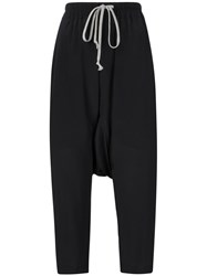 Rick Owens Drawstring Cropped Trousers Black