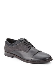 Saks Fifth Avenue Gray Dito Leather And Denim Shoes Black