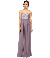 Donna Morgan Halter Neck Gown With Crisscross Grey Ridge Women's Dress Purple