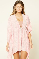 Forever 21 Abstract Print Cover Up Kaftan Pink Multi