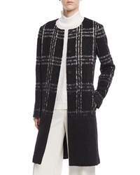 Eileen Fisher Round Neck Alpaca Shadow Plaid Coat Black