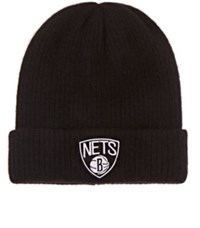 The Elder Statesman X Nba Men's Brooklyn Nets Logo Cashmere Watchman's Cap Black