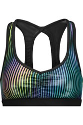 Koral Power Play Mesh Paneled Striped Stretch Jersey Sports Bra Multi