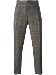 Etro Plaid Tapered Trousers Grey