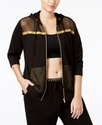 Material Girl Active Plus Size Mesh Trim Hoodie Only At Macy's Noir