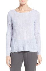 Eileen Fisher Women's Rib Knit Bateau Neck Pullover India Sky