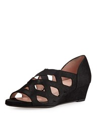 Taryn Rose Soukey Strappy Suede Low Wedge Sandal Black