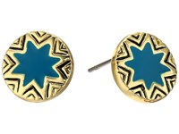 House Of Harlow Engraved Sunburst Stud Earrings Dark Teal Earring Blue