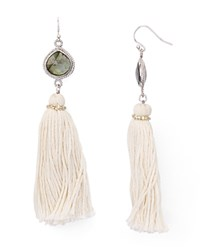 Chan Luu Tassel Drop Earrings White