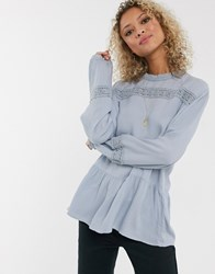 Jdy Cotton Top With Lace Insert In Blue