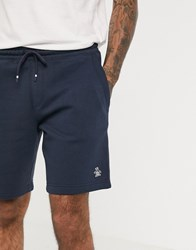 Original Penguin Badge Logo Sweat Shorts In Navy