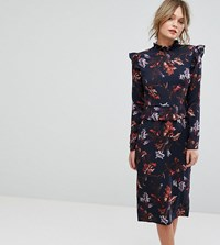 Hope And Ivy Long Sleeve Floral Printed Dress With Frill Detail Multi Navy