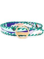 Emilio Pucci Burle Print Whipstitched Leather Belt Green