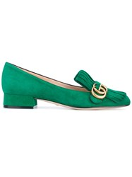 Gucci Gg Vamp Fringe Loafers Women Leather Calf Suede 36.5 Green