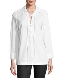 Neiman Marcus Relaxed Lace Up Tunic Top White