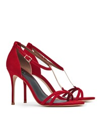 Reiss Ariana Womens T Bar Sandals In Red