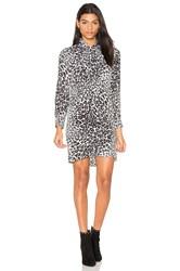 Equipment Leema Leopard Print Tie Neck Dress Black And White