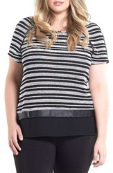 Tart Plus Size Women's Nina Stripe Mixed Media Top Black White Stripe
