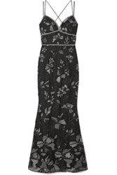 Marchesa Notte Embellished Embroidered Tulle Gown Gunmetal