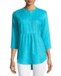 Neiman Marcus Pleated Peasant Linen Tunic Blue