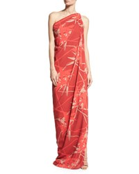 Halston Draped One Shoulder Gown Red Pattern
