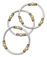 Nine West Tri Tone 3 Pc. Set Metal Bangle Decorated Stretch Bracelets Multi