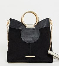 River Island Bucket Bag With Circle Metal Handle In Black
