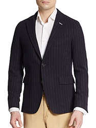 Gant Chalk Stripe Wool Blend Jacket Navy